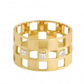 Bague DAMIER Diamant 3 rangs