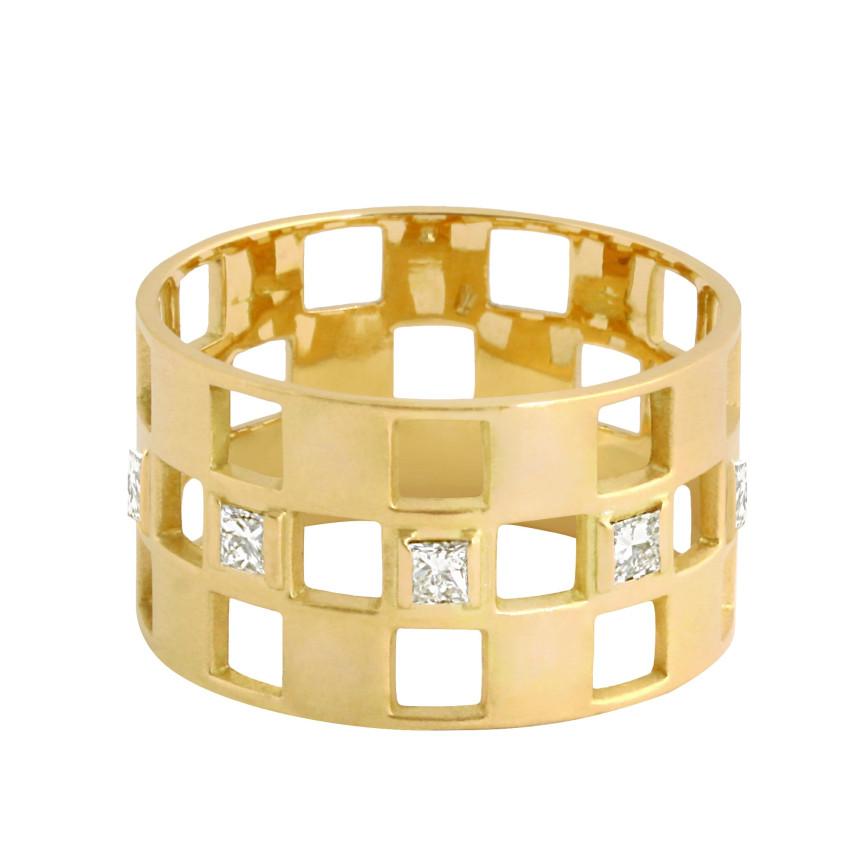 Bague DAMIER Diamant 3 rangs