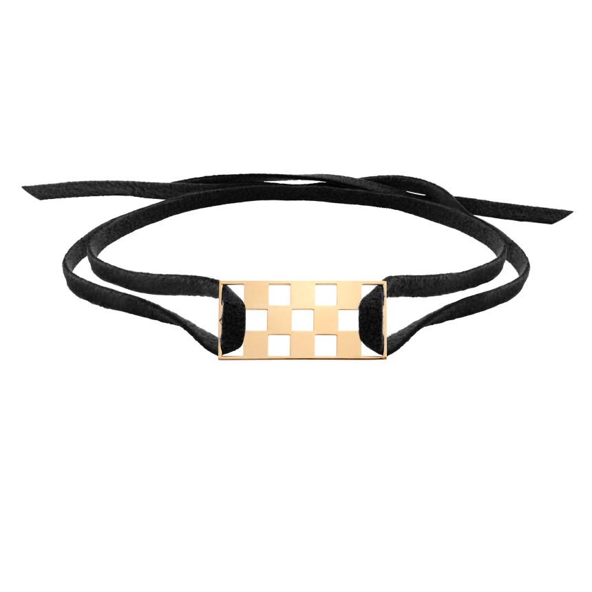 Bracelet DAMIER 3 rangs OJ sur cordon