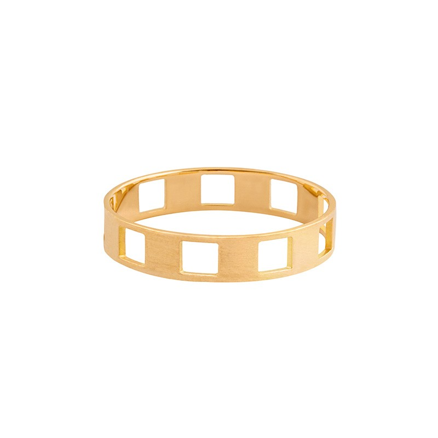 DAMIER 1 row yellow gold ring