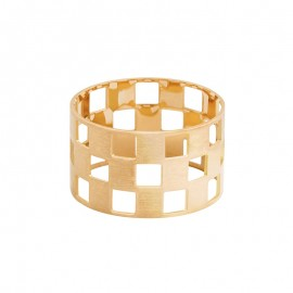 DAMIER 3 rows yellow gold ring