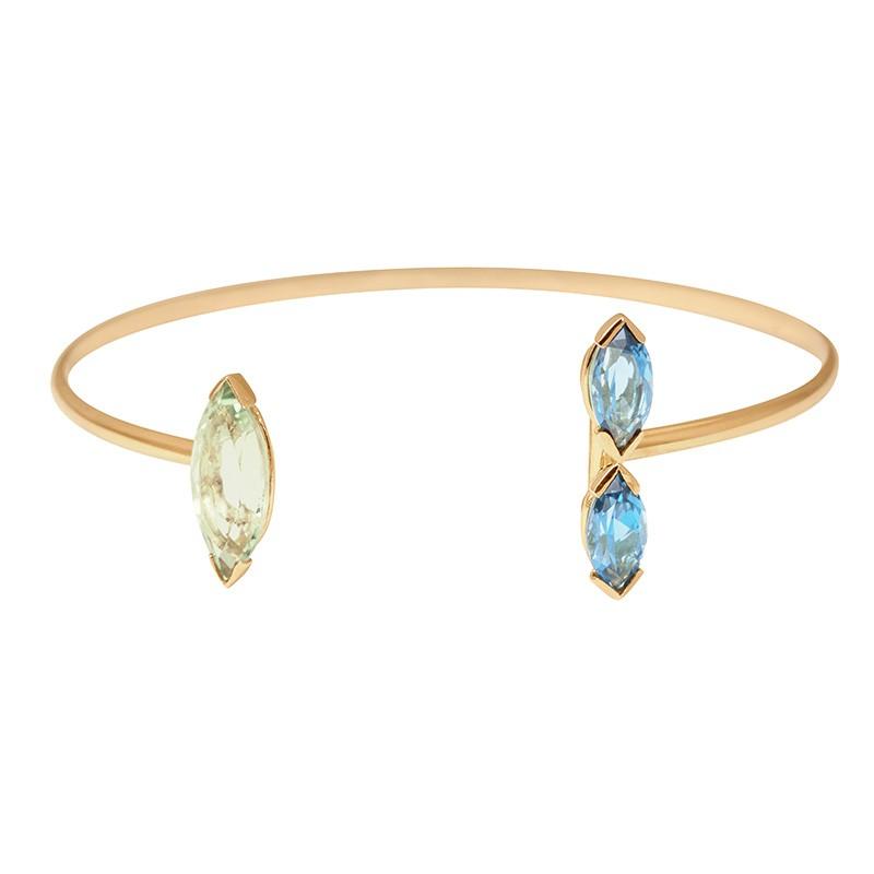 Bracelet jonc GABY Topaze et Prasiolite